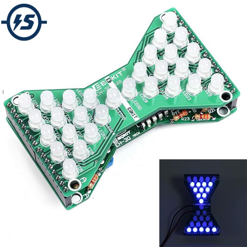 DC 5V azul LED reloj de arena electrónico DIY Kit Velocidad Ajustable divertido DIY Kits electrónicos LED doble capa PCB tablero