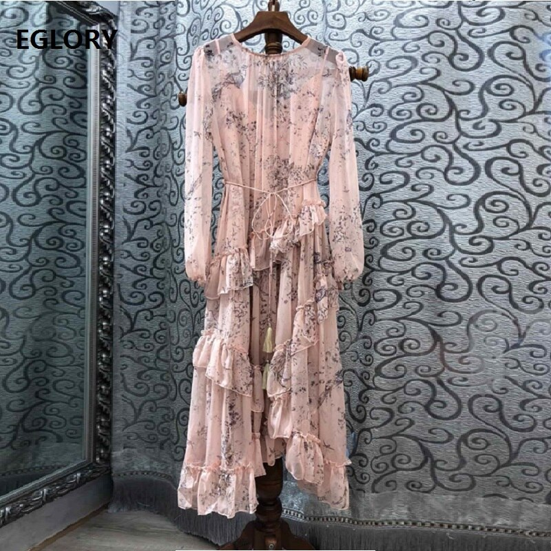New 2020 Spring Hot Sale Dress High Quality Women Elegant Floral Print Ruffles Long Sleeve Mid-Calf Length Pink Black Dress Boho