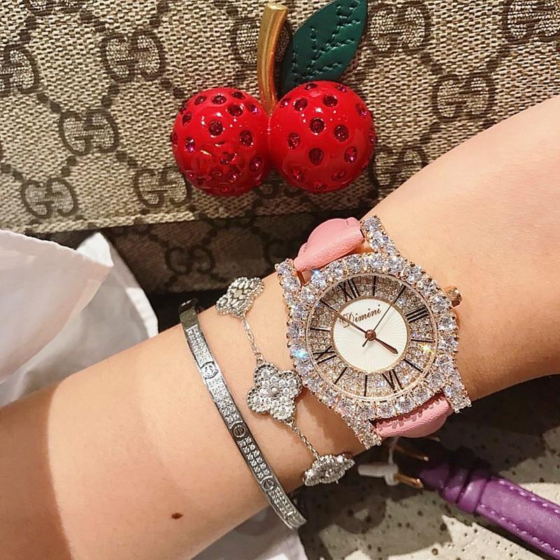 Super Rose Gold Diamond Ladies Watch Women New Dress Watches New  Luxury Leather Strap Woman Quartz Watch Clock reloj mujer enlarge