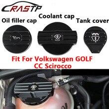 RASTP-Oil Filler Cap/Coolant Cap /Tank Cover for Volkswgen CC Scirocco Engine Aluminum Protect Cap Cover with Logo RS-CAP010
