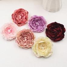 5pcs/lot 8.5cm Peony Flower Heads Silk Artificial Flower High Quality Wedding Decoration DIY Garland Scrapbook Gift Box Flowers