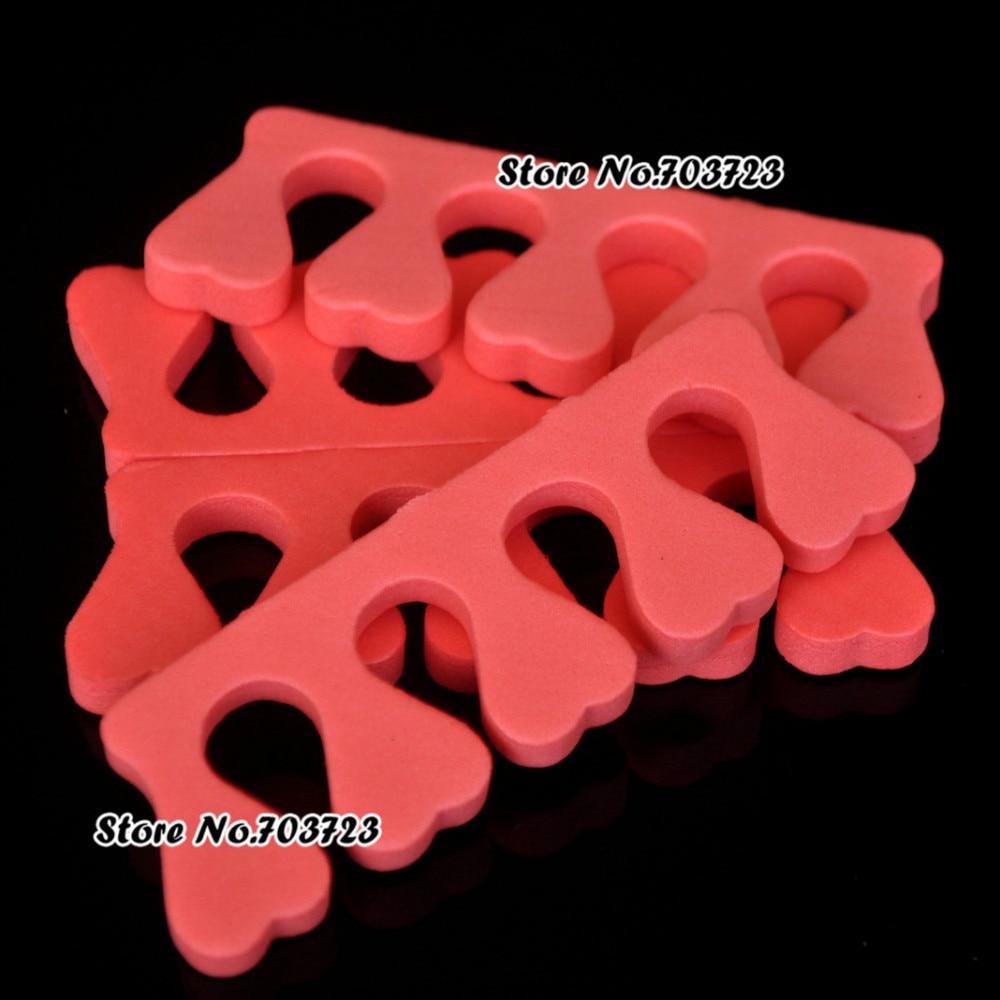 1 lote = 100 Uds. DIY herramienta de diseño de uñas esponja espuma separador para dedos del pie herramienta para salones de manicura forma de corazón color aleatorio