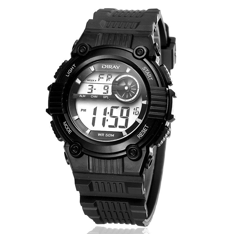 Nuevo reloj Digital DIRAY, reloj deportivo impermeable para niños, correa de silicona, relojes LED para niños, hora de regalo para bebés, reloj