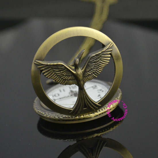 new women unisex lady girl bronze retro vintage hunger games pocket watch bird quartz hour fashion hot low price good quality