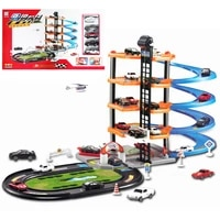 new educational kids diy building model toy simulation parking lot of five story assembled rail car delivery car children gift