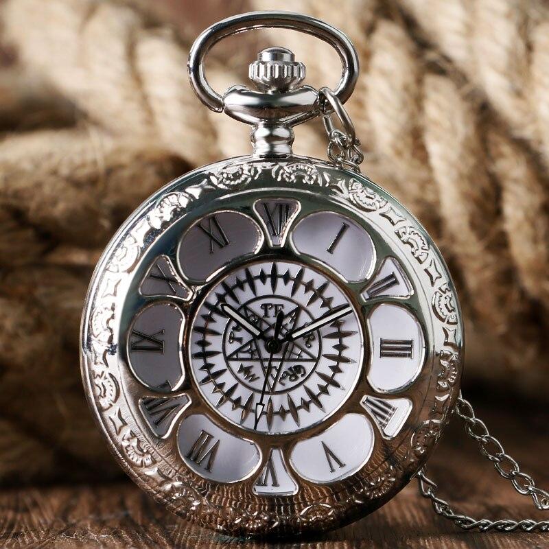 Reloj de bolsillo hueco Vintage Kuroshitsuji negro diseño mágico colgante cuarzo hombres mujeres collar regalo montre gousset