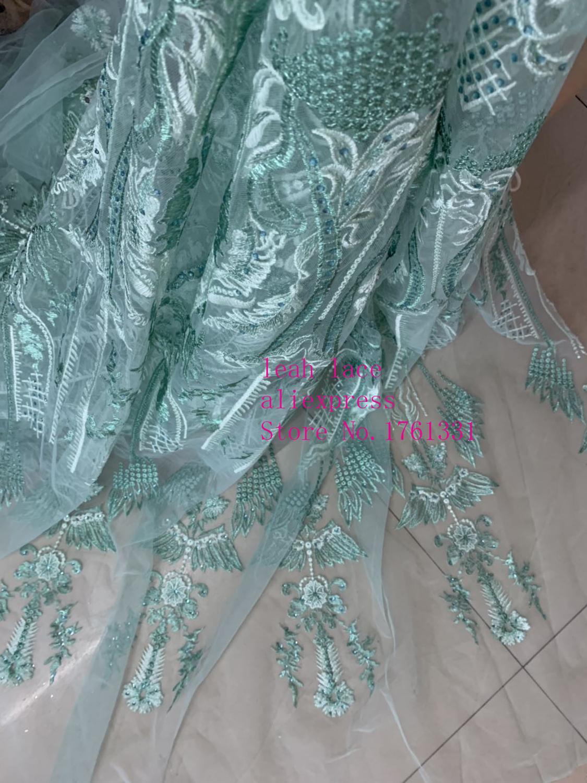 5 yrads/bolsa luz verde bordado encaje lentejuelas caliente taladro proceso moda tela usada para vestido de boda moda CH37 #