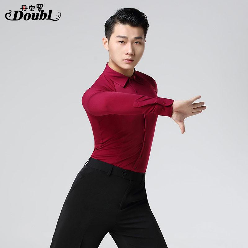 Latin dance costumse long sleeves latin dance tops for men shirts latin dancing jackets S-XXXL