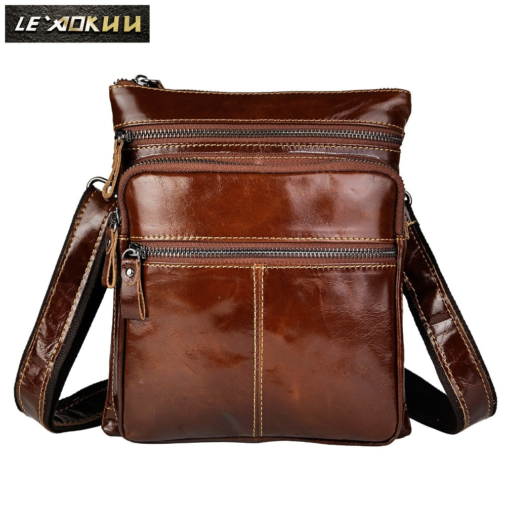 Original Leather Male Casual Design School Shoulder Messenger Crossbody bag Fashion College Mochila