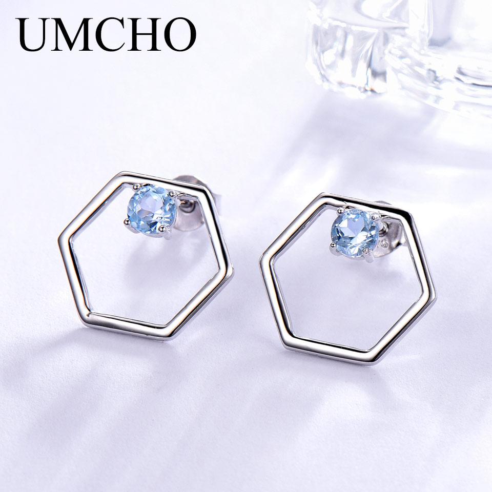 Pendientes de piedra preciosa de Topacio azul cielo Natural UMCHO 925 pendientes tipo botón de plata fina joyería de diseñador pendientes de marca fina para mujer