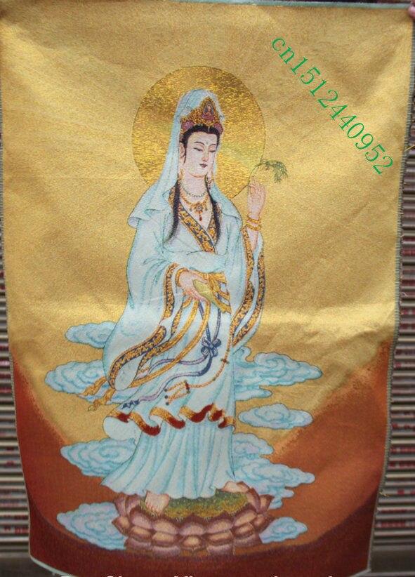 36 pulgadas bordado de seda chino kwan-yin diosa Guan yin Tangka pintura de thangka Mural