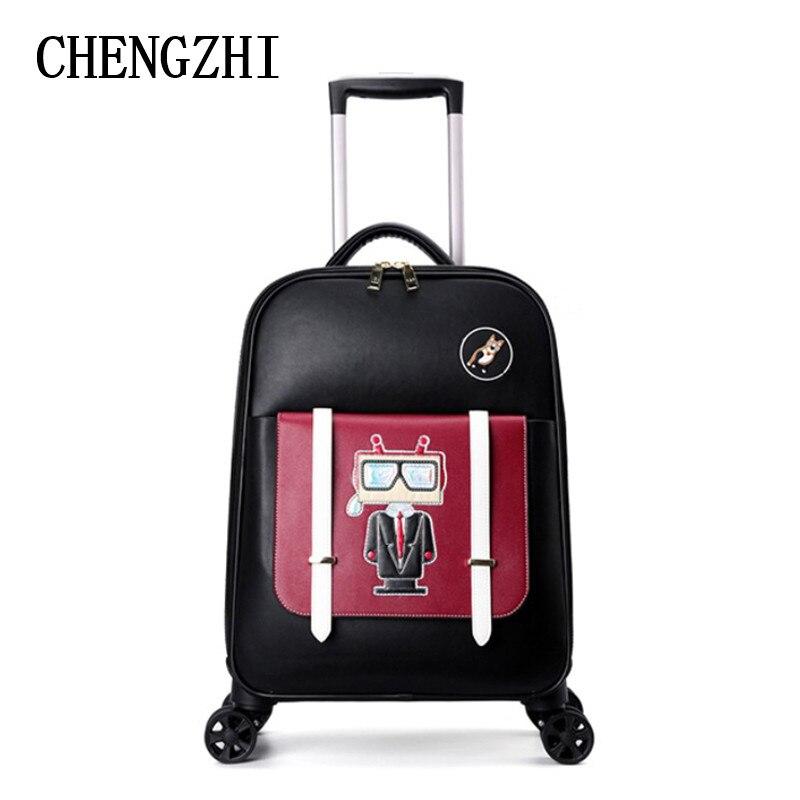 "CHENGZHI 18 ""pulgadas maleta de cuero de dibujos animados para mujeres spinner pequeña cabina equipaje de mano para chicas bolsa de viaje"