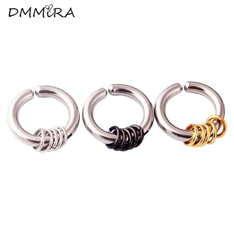 Fashion Men Punk Round Ball Male Earrings Color Steel Five Circle Non Piercing Open Hoop Huggie Earrings Brincos Jewelry