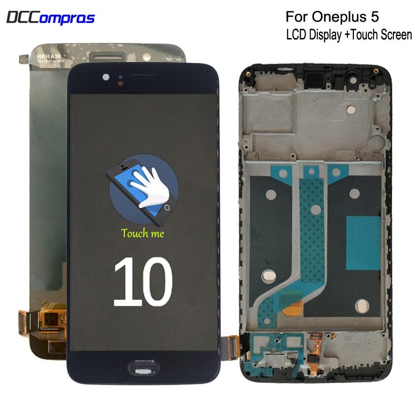 الأصلي AMOLED ل Oneplus 5 A5000 LCD عرض تعمل باللمس محول الأرقام الجمعية ل واحد زائد 5 شاشة LCD عرض مع الإطار
