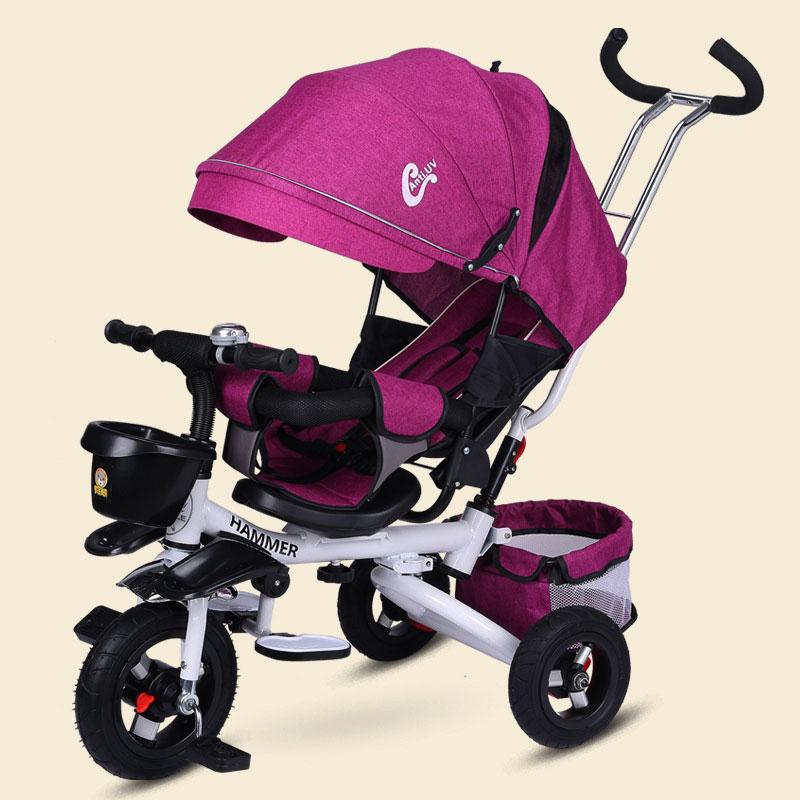 عربة أطفال ثلاثية العجلات قابلة للطي متعددة الوظائف للجلوس والاستلقاء ، ومقعد مستلق ، وعجلة ، وثلاث عجلات
