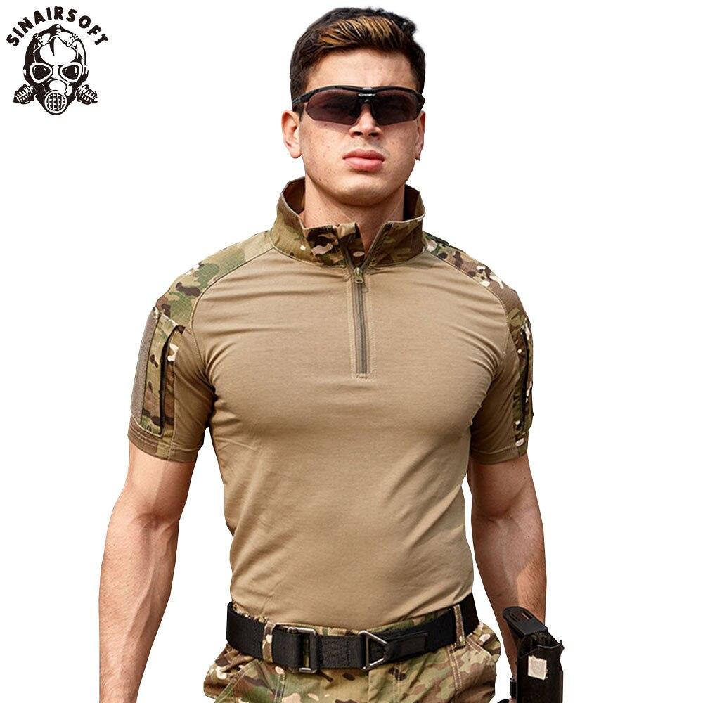 SINAIRSOFT Homens Verão T-Shirt 2018 New Tactical Camuflagem Militar de Manga Curta Camiseta de Algodão Camisas Roupas de Caça LY2068