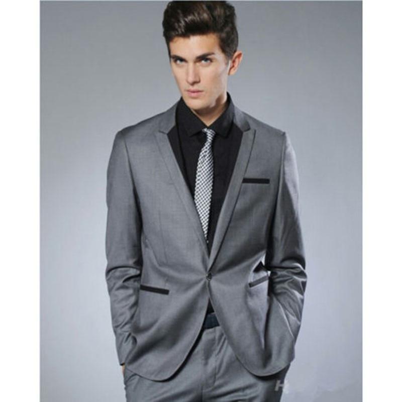 2018 Fashion Small Collar Grey Groom Tuxedo men wedding suit Man Business Party Suits Mens Daily Wear Blazer (Suit+Pants+tie)