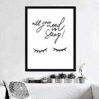 all you need is sleep quote canvas painting pictures black and white poster wall art baby nursery decoration home decor unframed