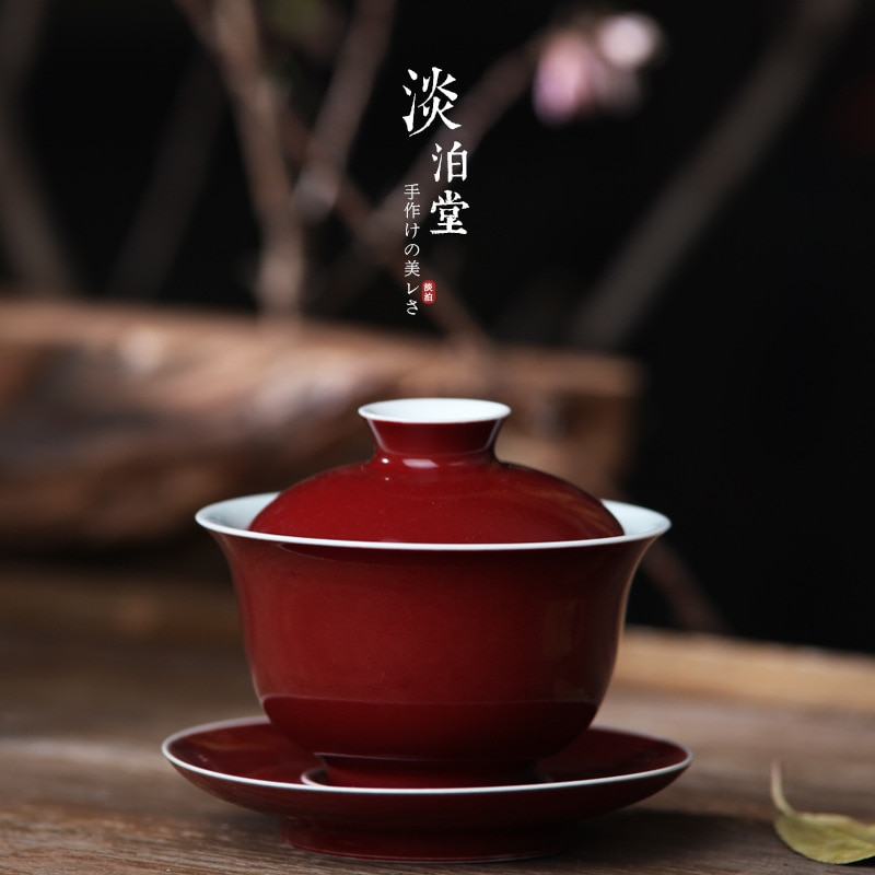 Tea set Jingdezhen high temperature color glaze raw mineral sacrifice Jinzhonggaiwan hand-made tea bowl