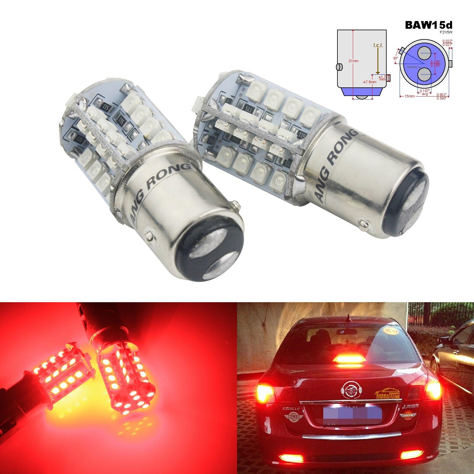 Angrong 2x567 pr21/5 w baw15d bulbo 40 smd led reverso backup cauda parar luz indicadora vermelho