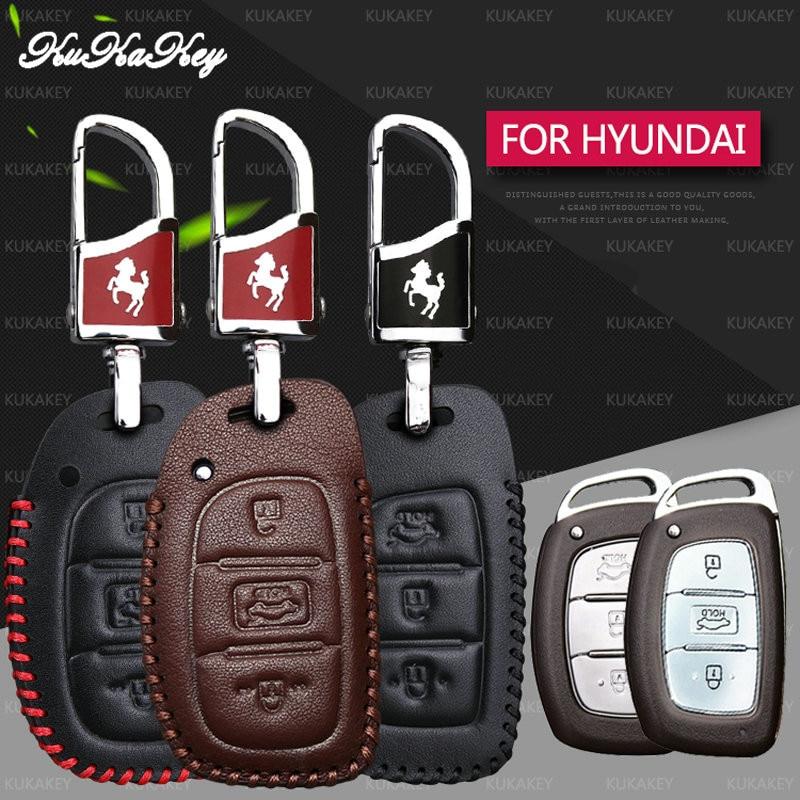 KUKAKEY Leather Car Key Case Fob Cover For Hyundai TUCSON Avante i10 i20 i30 HB20 IX25 IX35 IX45 Smart Car Key Bag Holder Shell