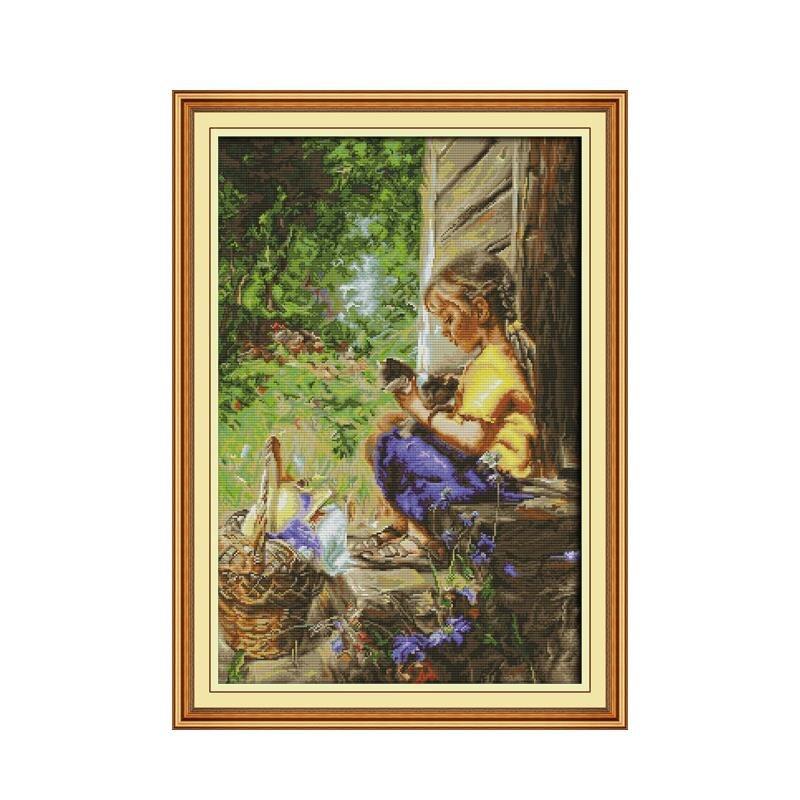Chica y gatito 11CT14CT impreso bordado stitch decoración hogar pinturas