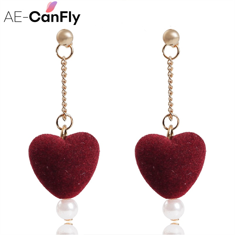 AE-CANFLY Dulce Terciopelo Rojo Corazón Cuelga Gota Pendiente de Perlas de Cadena Larga pendientes Bonito Regalo Año Nuevo Barato Ofertas del Viernes Negro