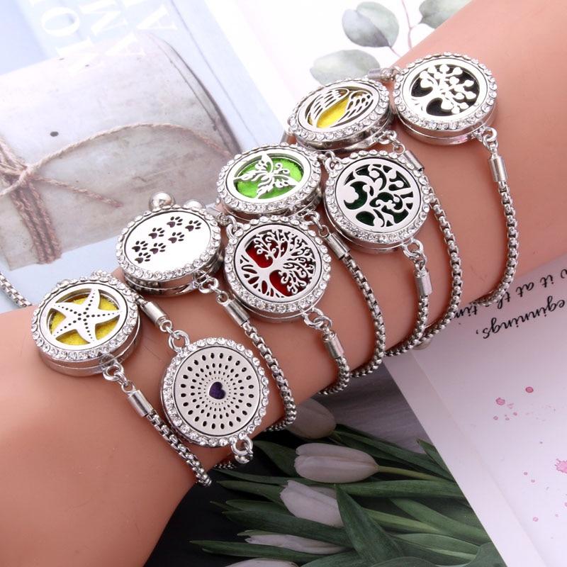Новые браслеты браслет Арома диффузор духи эфирное масло медальоны для ароматерапии ювелирные изделия модный Кристальный браслет регулируемый