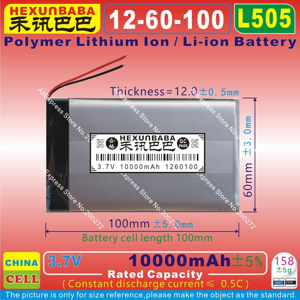 [L505] 3.7 v 10000 mah [1260100] bateria de íon de lítio de polímero/li-ion para tablet pc, banco de potência móvel; gps; mp3, alto-falante