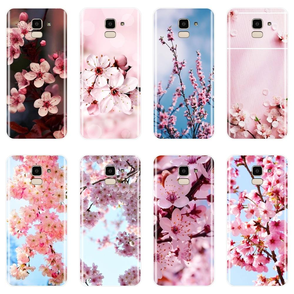 TPU Caso de Telefone de Silicone Para Samsung Galaxy J2 J5 J7 Prime J4 J6 J8 Plus 2018 J3 J5 J7 2015 2016 2017 Flor Rosa Suave Tampa Traseira