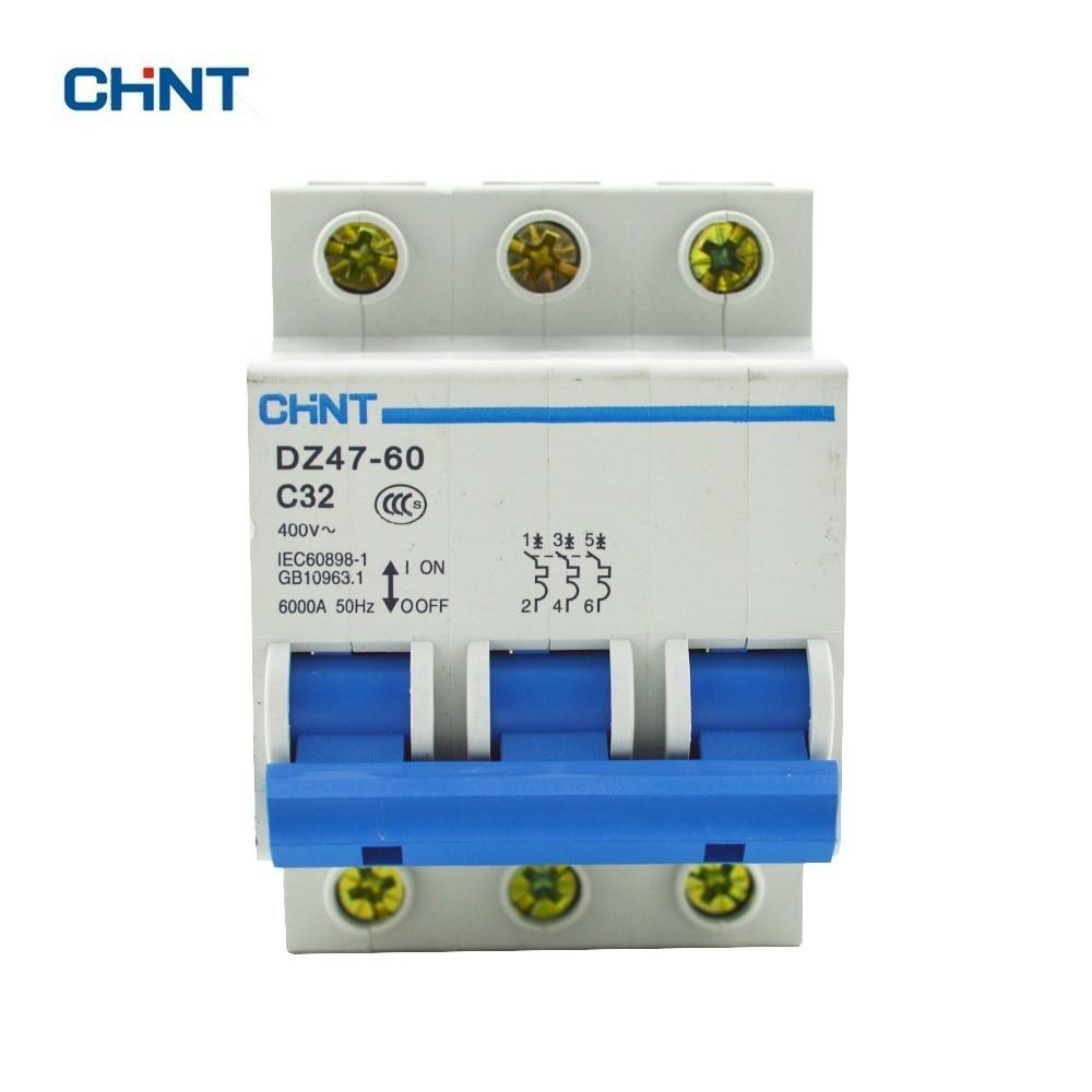 CHINT DZ47-60 C32 AC230/400 V 3 P 32A Corriente Nominal 3 Pole Miniatura Del Disyuntor