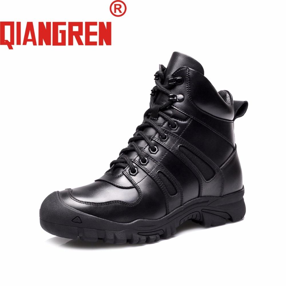 QIANGREN-أحذية شتوية تكتيكية للرجال ، أحذية خارجية ، جلد طبيعي ، صوف ، مطاط ، أسود ، للثلج ، الشتاء