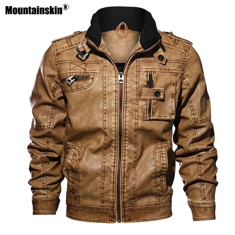 Mountainskin رجالي سترات من الجلد دراجة نارية سستة جيوب الذكور الولايات المتحدة حجم بولي Coats معاطف السائق فو الجلود موضة ملابس خارجية SA893