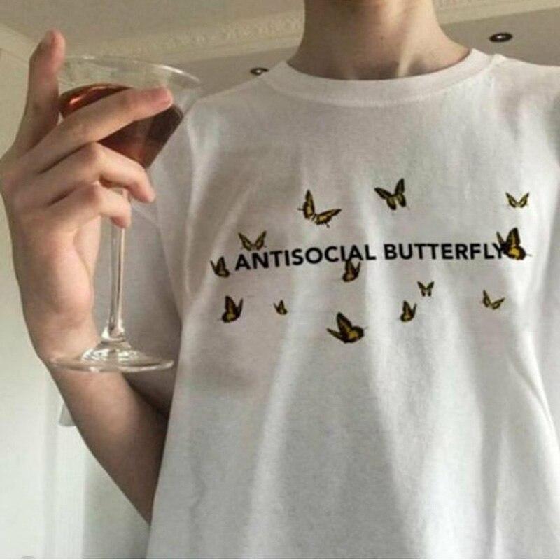 Женская футболка с бабочками, Забавные футболки с графикой в стиле Харадзюку, летняя женская Эстетическая одежда с коротким рукавом, Poleras Mujer