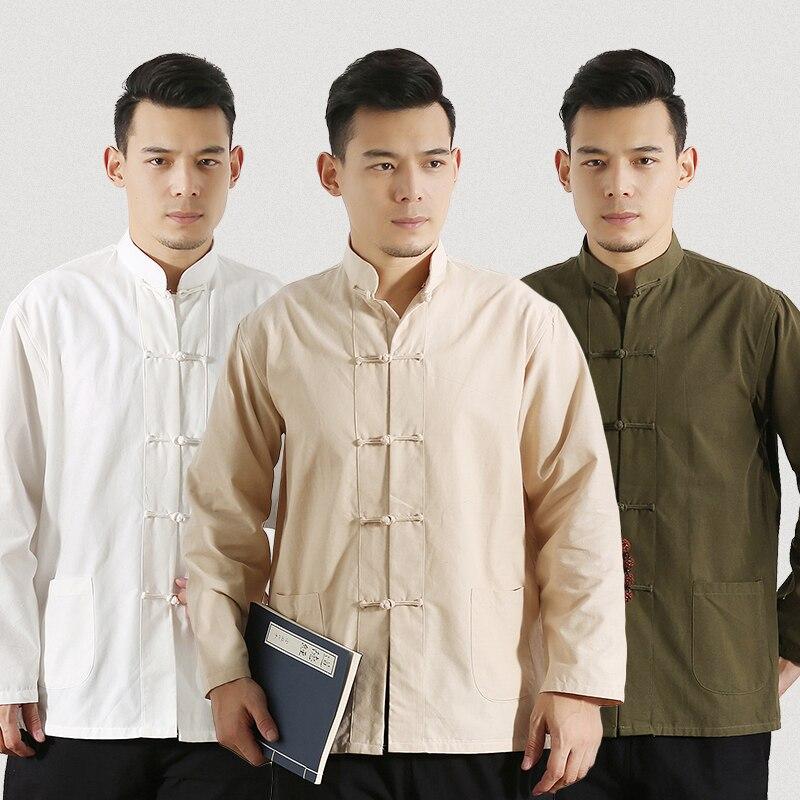 De manga larga de ropa tradicional china de algodón Tang traje de los hombres Kung Fu uniforme de Tai Chi camisa blusa Hanfu hombre puro traje