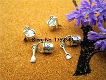 75 pièces-pendentifs antiques tibétains argent Pail de plage charmes, 3D avec pendentif pelle charme bijoux faisant 30x8mm