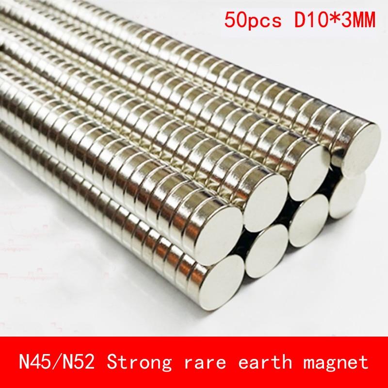 50 шт. 10 мм x 3 мм N45 N52 сильные круглые цилиндрические Магниты редкоземельные неодимовые диаметр 10*3 мм художественное ремесло соединение