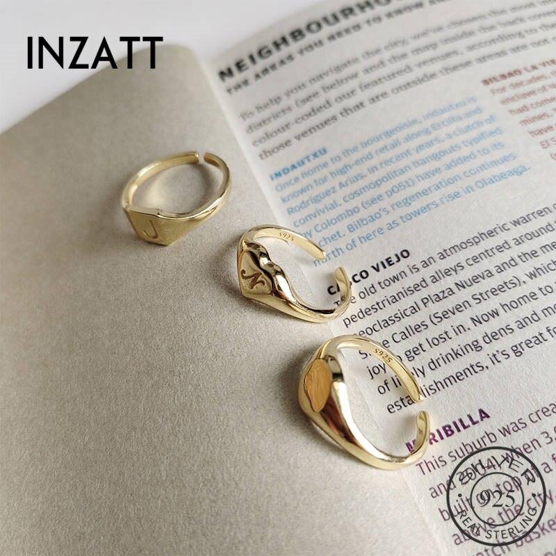 Anillo cuadrado redondo geométrico INZATT Plata de Ley 925 auténtica para mujeres encantadoras, joyería fina para fiestas, accesorios de moda 2019, regalo