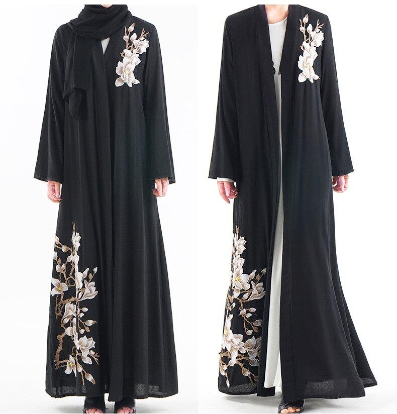 Elegante abaya abierta vestido de mujer bordado de talla grande vestido suelto adulto musulmán Kaftan Jilbab prendas de lujo prendas de vestir Cardigan