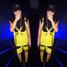 New Fashion Male suit set Yellow Tide card hip hop alphabet posted strap Vest Set Nightclub singer dj performance set