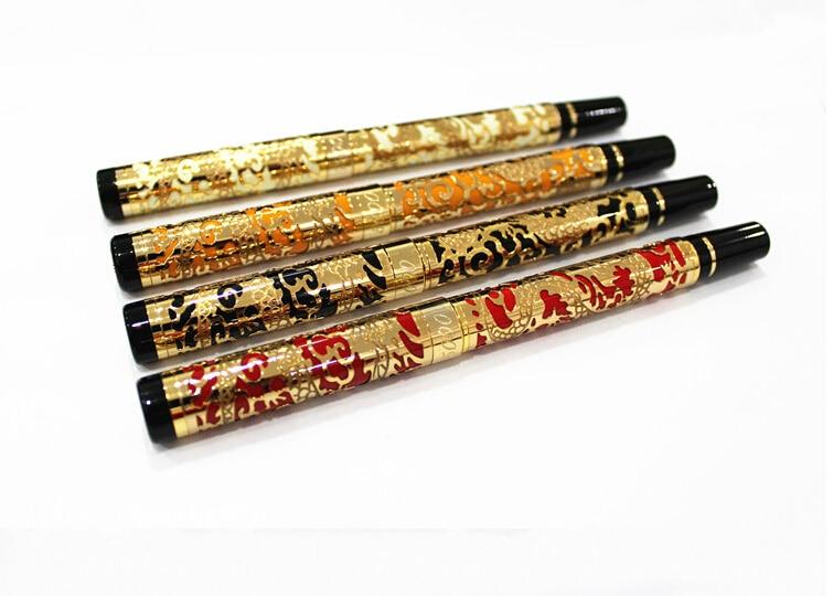 Avanzada fuente pluma Jinhao 5000 dragón dorado con pluma de tinta negra de regalo de negocios plumas de la Oficina de la escuela suministros