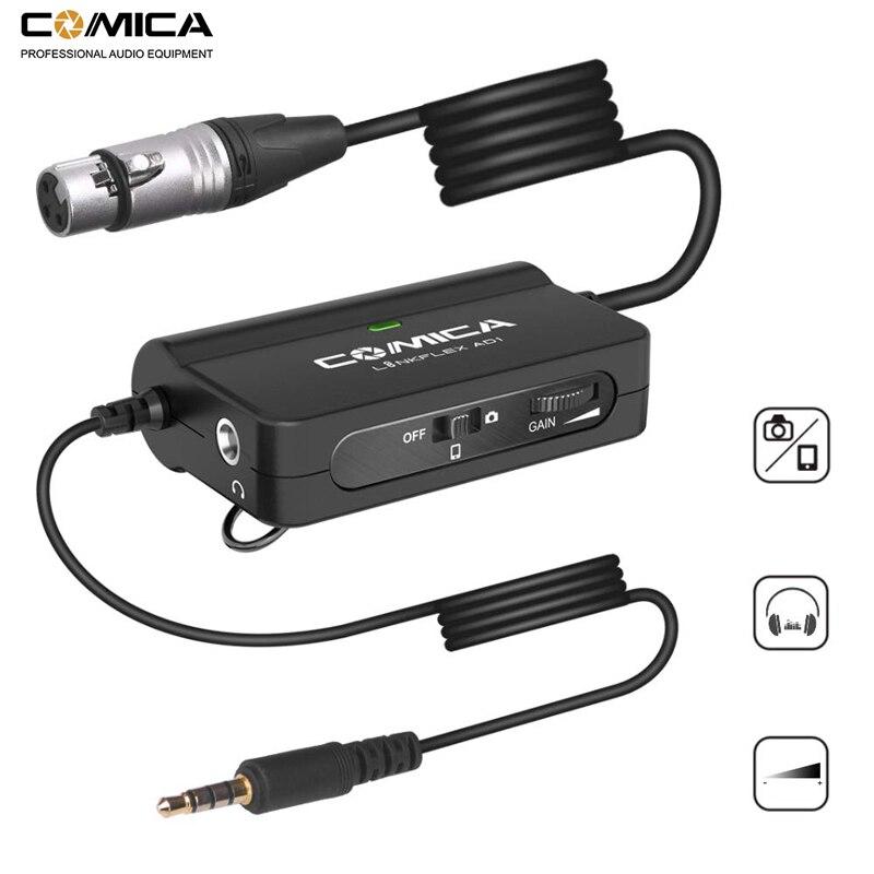 Comica AD1-Adaptador de micrófono preamplificador XLR a 3,5mm, adaptador xlr a TRS/TRRS para cámaras DSLR, videocámaras y teléfonos inteligentes