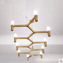 Lámparas colgantes de hierro-moderno Villa dúplex escaleras loft de diseño lámpara de 10 cabezas velas corona colgante luz para restaurantes