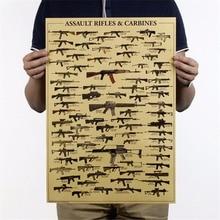 1 pcs World Famous Gun Posters Military Fans Vintage Poster Kraft Paper Decorative Painting 51x35.5cm Paper Posters Wall Sticker