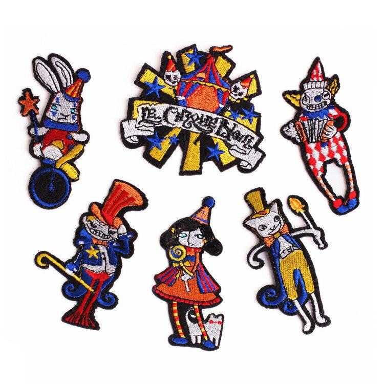 PGY payaso acrobático patrón de dibujos animados bordado circo tropa insignia niños Ropa Accesorios bolsa Cowboy decoración parches