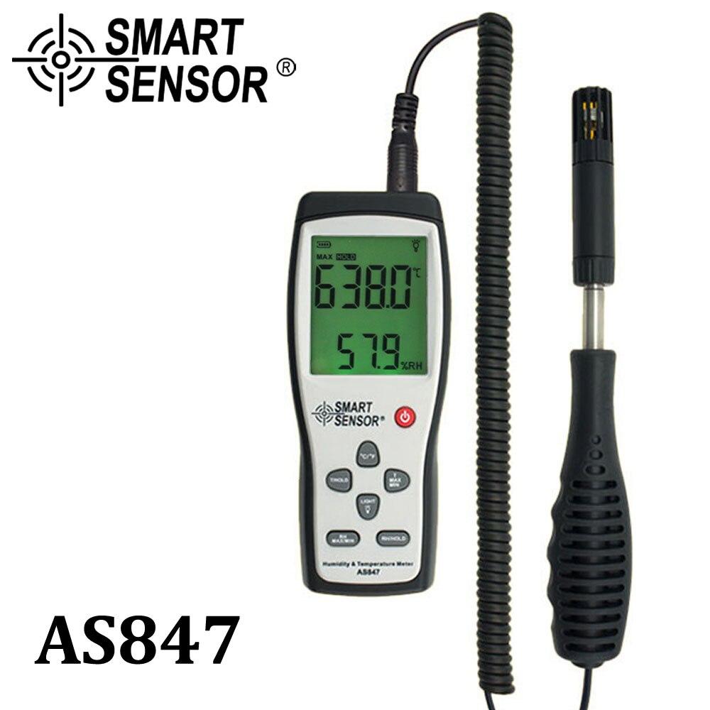 الذكية الاستشعار AS847 سبليت مقياس الرطوبة الرقمي مقياس الرطوبة 2 في 1 K نوع الحرارية قياس الرطوبة مستشعر درجة الحرارة والرطوبة