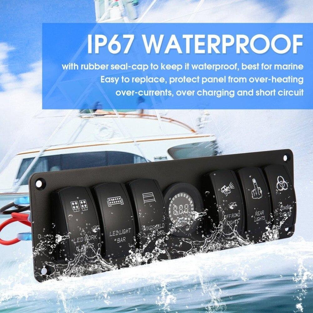 6 Gang 12V/24V Rocker Switch for Car Marine Boat Circuit Breakers Overload Protected LED Light Rocker Switch Panel Circuit