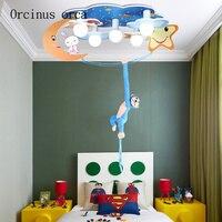 Cartoon creativity monkey ceiling lamp boy bedroom children room light modern simple LED eye protection moon ceiling lamp