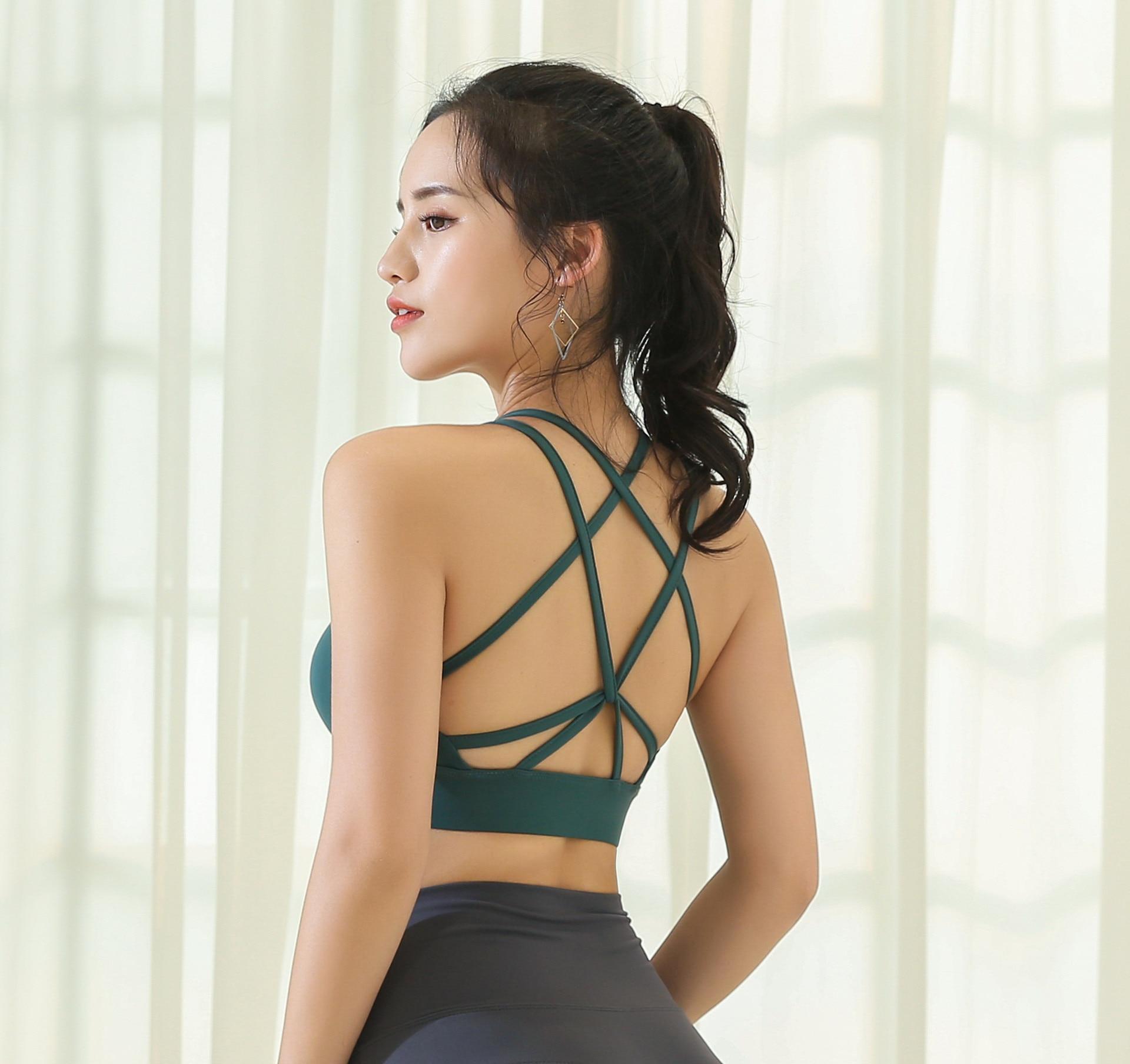 Wmuncc Sexy Yoga Tops Women Padded Sports Bra Shakeproof Tank Top Cross Strappy Running Workout Gym Top Tank Fitness Shirt Vest
