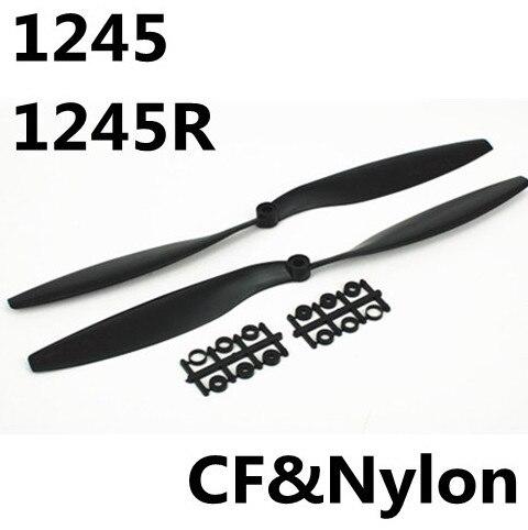 2 unids/par Gemfan de fibra de carbono y Nylon accesorios conjunto de 12*4,5 1245 CW/CCW PROP para QuadCopter negro